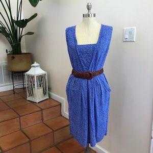 Many Belles Down   White and Blue Polkadot Dress